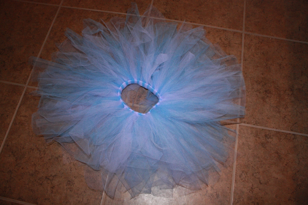 Finished Toddler Tutu made with alternating colors of blue and purple tulle.