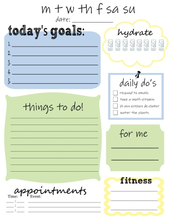 Diy planner jenny wears glasses this template is the hydrate section the for me section and fitness these are often sections that arent normally included in a basic to do list pronofoot35fo Images